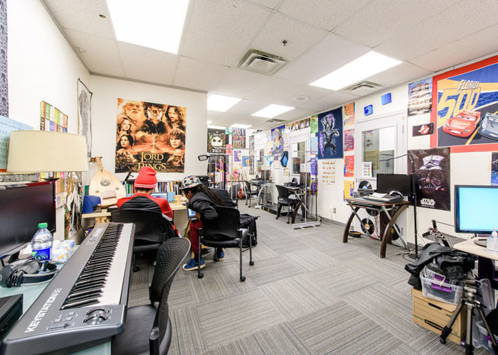 BSEC Music Room Filled With Instruments and Posters small